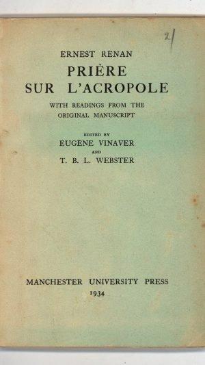 Prière sur l'Acropole with readings from the original manuscript