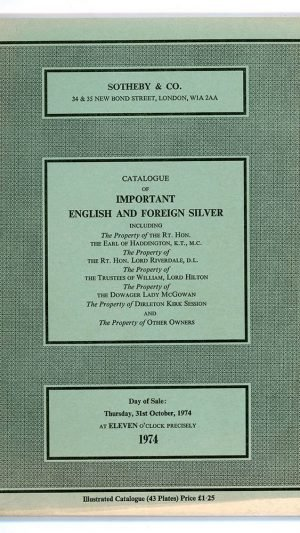 Catalogue of Important English and Foreign Silver and Plate 1974