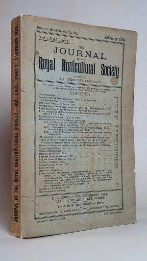 The Journal of the Royal Horticultural Society Vol. LVIII Part 1. February 1933