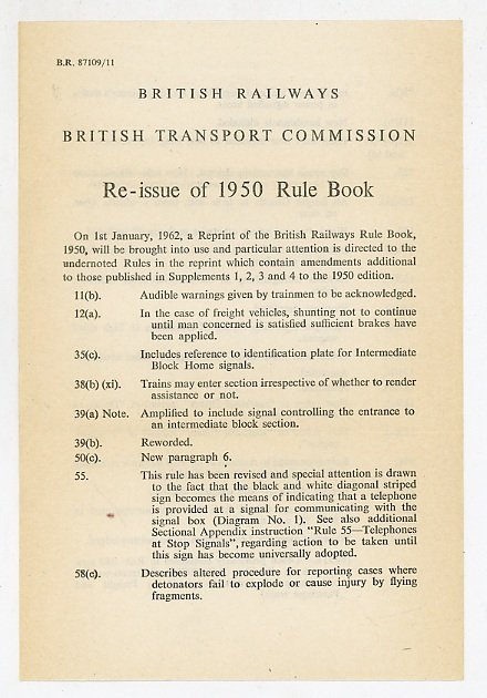 British Railways Rules for Observance by Employees