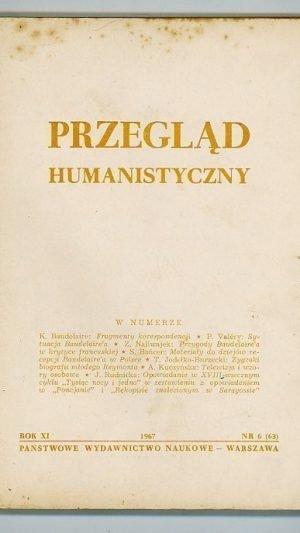 Przeglad Humanistyczny ROK XI Nr 6 (63)