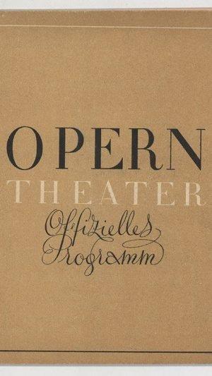 Opern Theater Offizielles Programm Tosca 17 September 1938