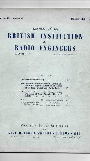 Journal of the British Institution of Radio Engineers Volume 12 Number 12 December 1952